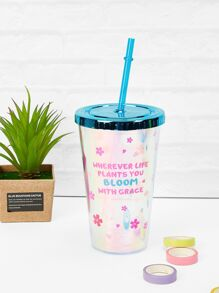 Letter Print Straw Cup 1pc
