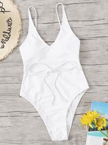 Crisscross Open Back Solid One Piece Swimsuit