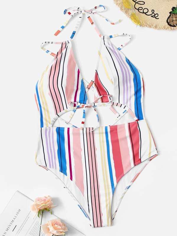 ce7853ec66 Plus Striped Cut-out Criss Cross One Piece Swim   SHEIN