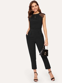 Contrast Lace Cuff Pleated Jumpsuit
