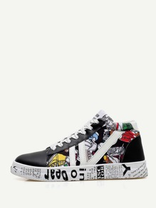 Lace-up Cartoon Print Sneakers