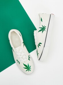 Leaf Print Low Top Canvas Sneakers
