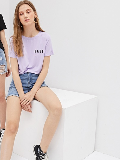 1Plus1 Girls Letter Print Tee