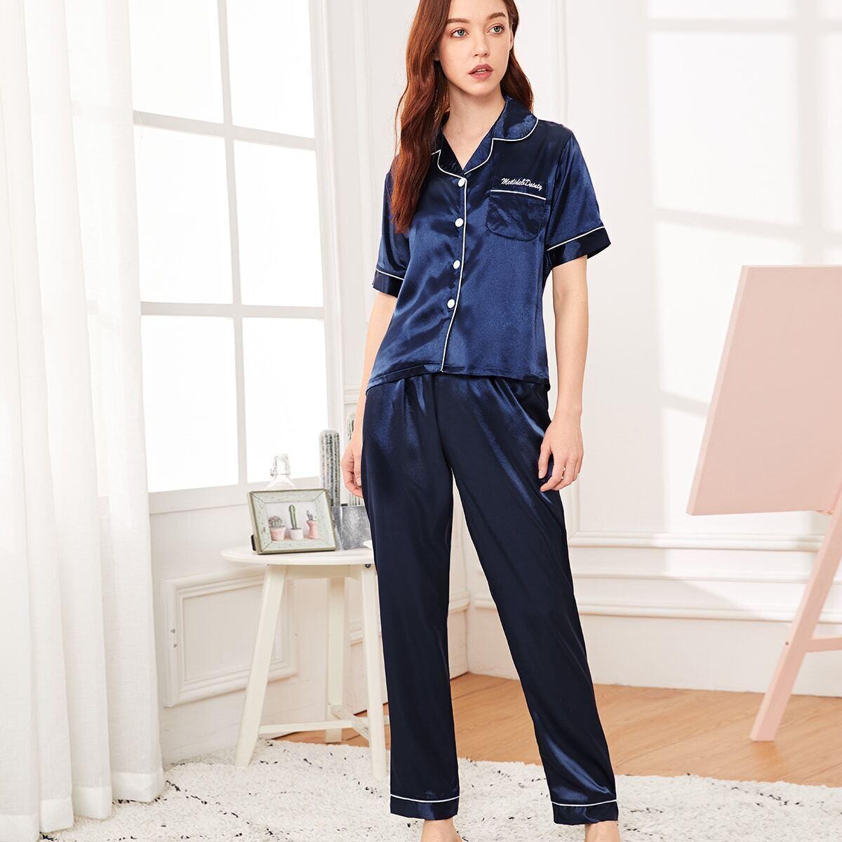 Pajama Set mit Buchstaben Stickereien