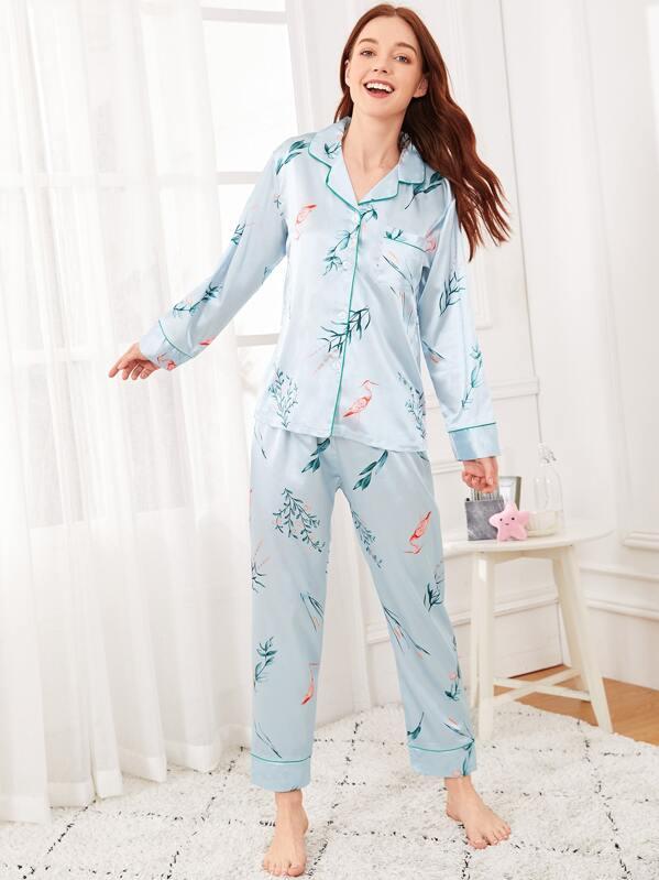 nuovo prodotto 03e15 46360 Set pigiama in raso con stampa foglie e fenicottero