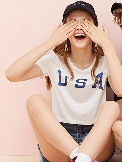 1Plus1 Girls American Letter And Flag Print Tee