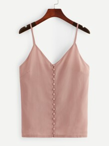 Solid Button Detail Chiffon Cami Top