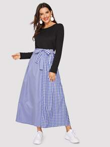 Contrast Gingham Print Knot-front Dress