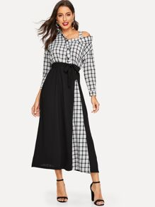 Plaid Asymmetrical Neck Waist Tie Dress