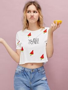 Watermelon And Letter Print Crop Tee
