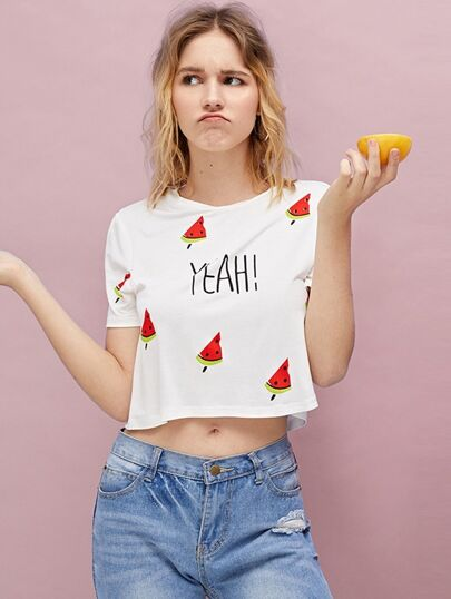 1Plus1 Girls Watermelon And Letter Print Crop Tee