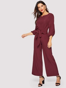 Bishop Sleeve Knot-front Blouse & Wide Leg Pants
