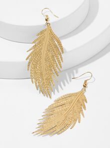 Feather Shaped Drop Earrings 1pair