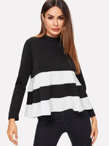 Contrast Panel Zip Back Colorblock Blouse