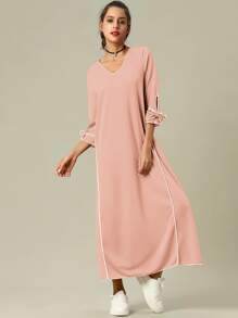 Bow Tie Cuff Longline Dress