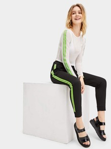 Striped Panel Elastic Waist Pants