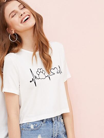 1Plus1 Girls Cartoon Print Crop Tee