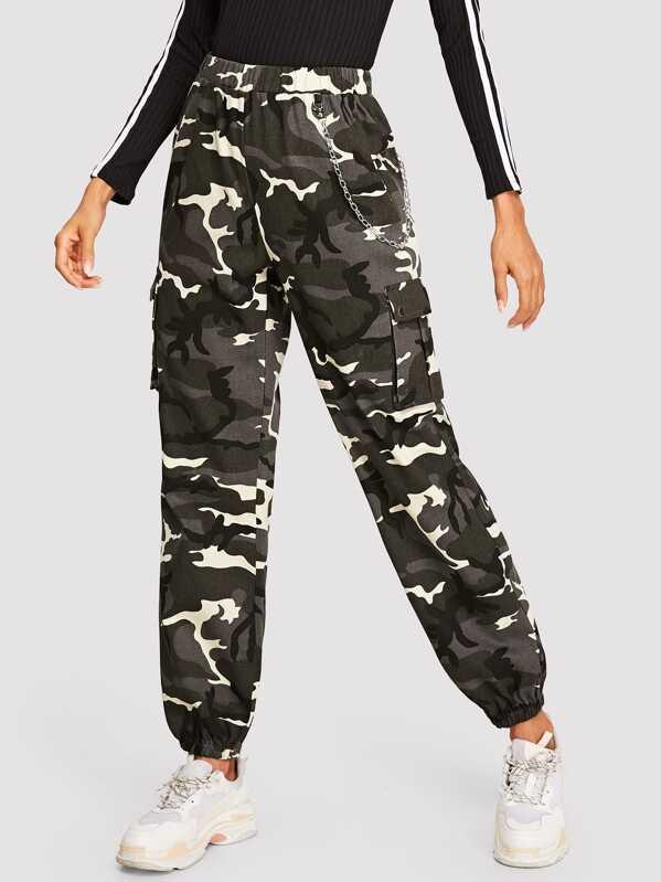 9eb9c7b8e Pantalones farol de camuflaje con bolsillo lateral con solapa