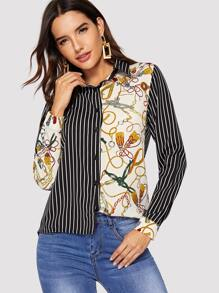 Contrast Stripe And Chain Print Button Through Blouse