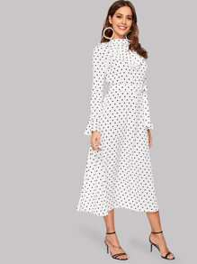 Polka Dot Flounce Sleeve Ruffle Midi Dress