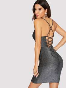 Lace-up Back Glitter Cami Dress