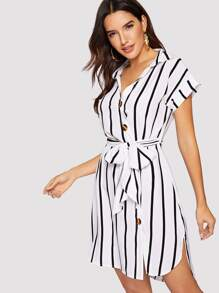 Striped Button Through Belted Shirt Dress