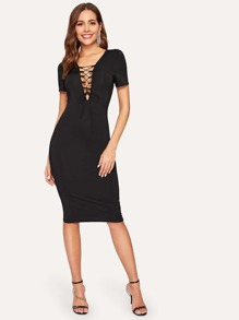 Double Lace Up Plunge Fitted Dress