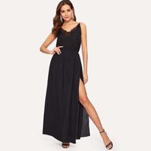 SHEIN | Lace Panel Split Side Cami Dress | Goxip