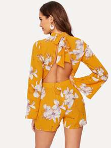 Floral Print Knot Backless Romper