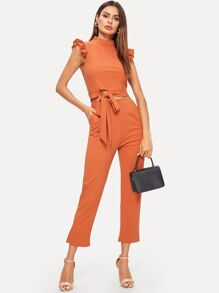 Contrast Ruffle Cuff Knot Hem Top With Pants