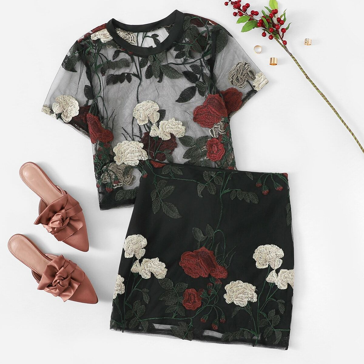 Floral Embroidered Sheer Mesh Top With Skirt