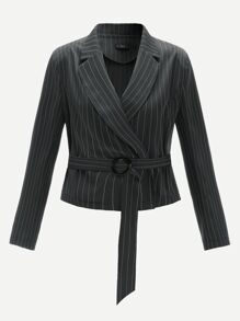 Notched Collar Vertical-stripe O-ring Belted Blazer