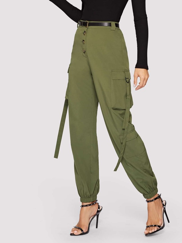 fe00e0e4cb Hanging Strap Detail Button Fly Cargo Pants | SHEIN