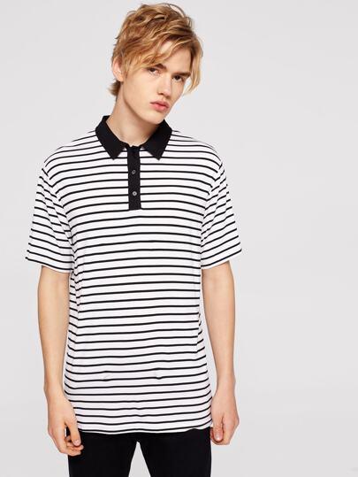 1e27d9b375 Men Contrast Collar Striped Polo Shirt