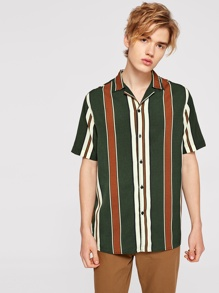 Men Colorful Striped Shirt