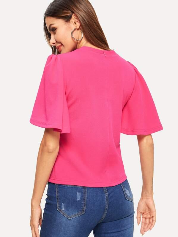 68846ca0e3 Bell Sleeve Zip Back Tunic Top | SHEIN
