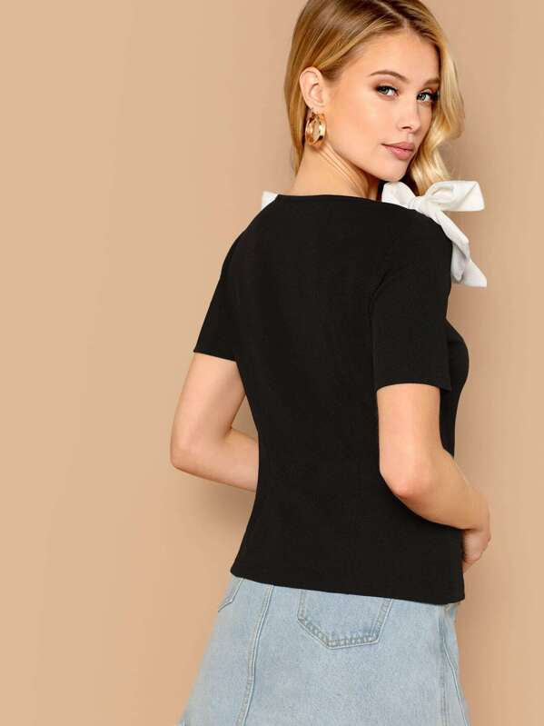 0cff71c663 Contrast Bow Square Neck Top | SHEIN