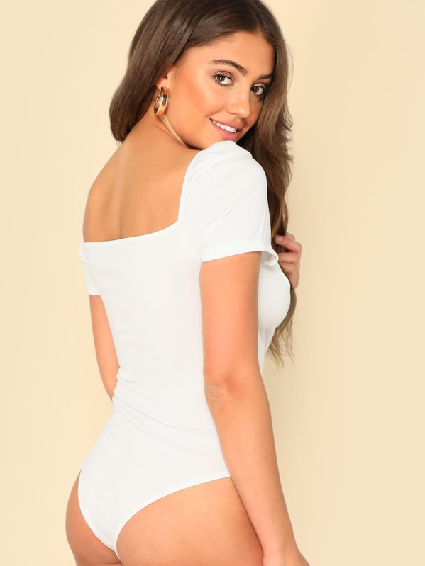 c23008ae9e4d Puff Sleeve Wrap Sweetheart Bodysuit | SHEIN