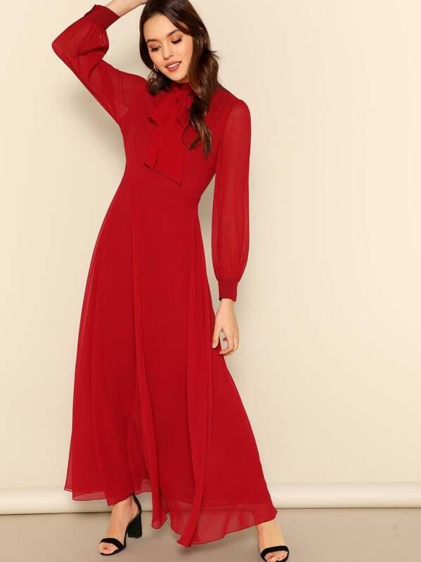 9988b79aff Cheap Tie Neck Semi-Sheer Sleeve Flowy Maxi Dress for sale Australia ...