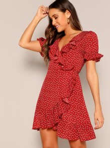 Heart Print Ruffle Wrap Dress