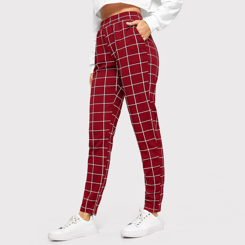 Slant Pocket Grid Tapered Pants, Burgundy