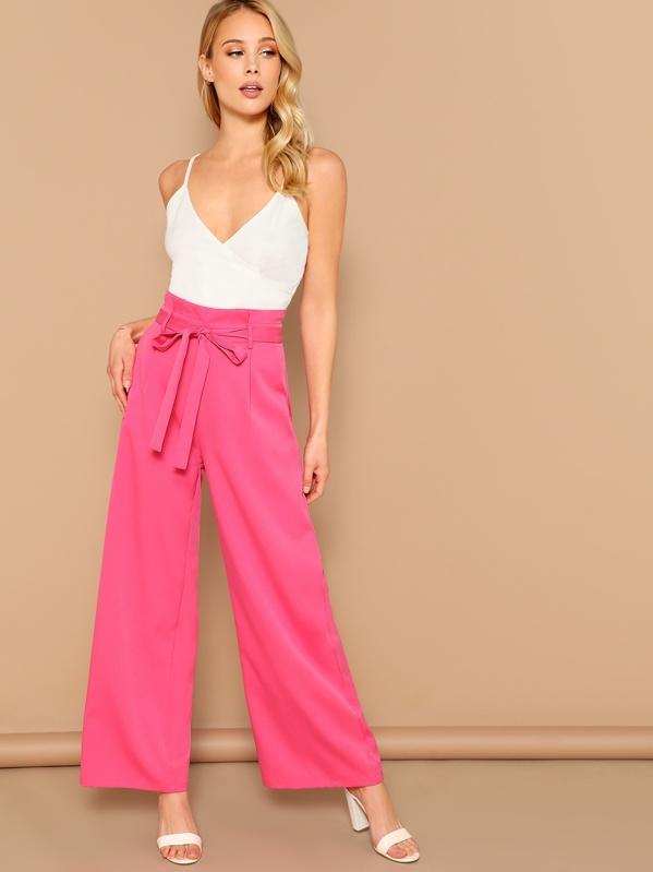 e0812b795b Neon Pink Slant Pocket Belted Wide Leg Pants | SHEIN