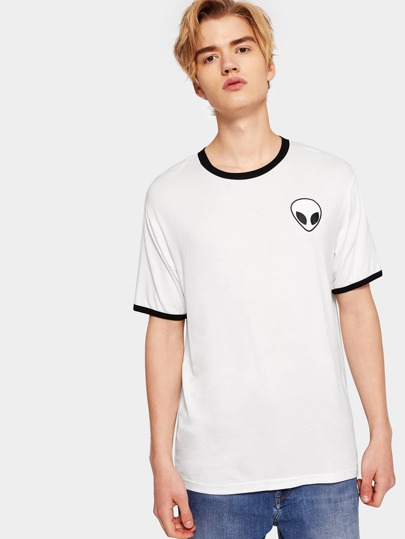 1Plus1 Guys Alien Printing Ringer Tee