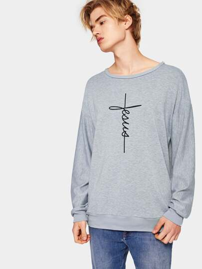 1Plus1 Guys Drop Shoulder Letter Print Pullover