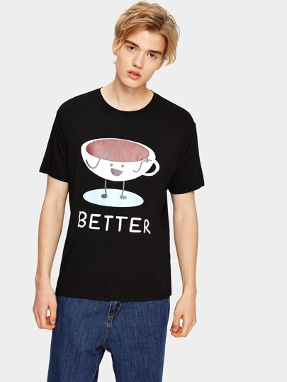 Guys Letter And Cartoon Print Tee