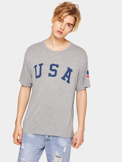 1Plus1 Guys American Letter And Flag Print Tee