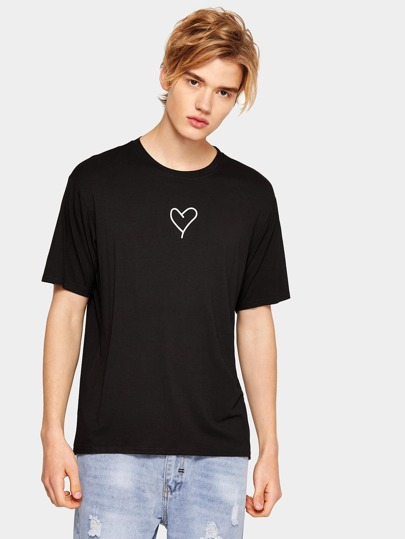 1Plus1 Guys Heart And Letter Print Tee