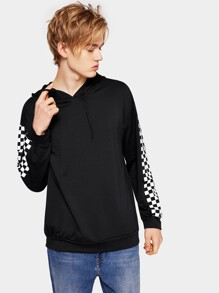 Men Checkerboard Panel Sleeve Hoodie