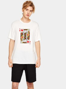 Guys Poker Card Print Tee