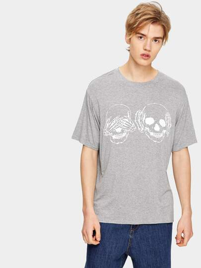 1Plus1 Guys Halloween Skull Print Tee